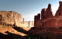 Peaks of white sandstone and redrock