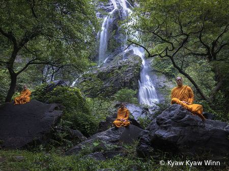 The Monks and Waterfall