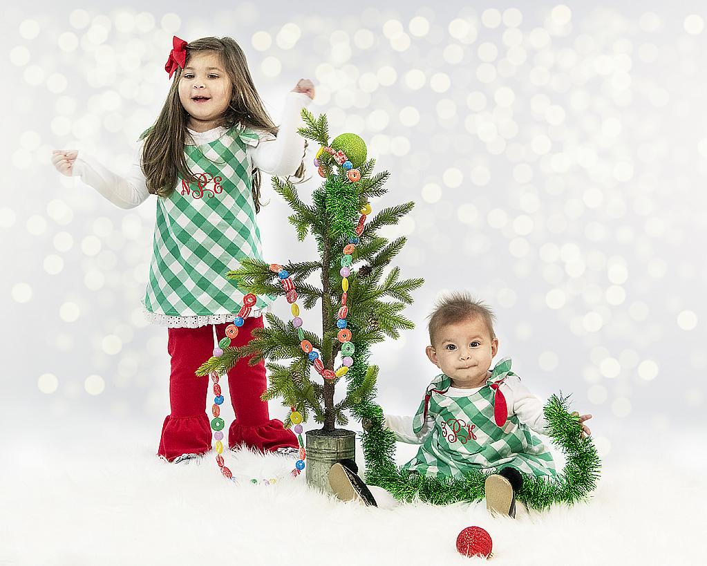 Sisters decorating for Santa