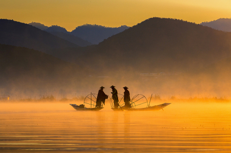 Golden morning and fishermen