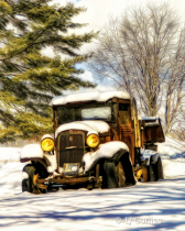 old truck in the snow