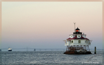 Thomas Pt Lighthouse w/Bay Bridge and ship...