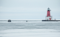 Ice Fishing at the North Pier Lighthouse