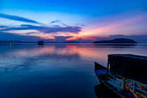 Magnificent view of lake with boat
