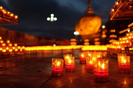 Full Moon night at Golden Rock Pagoda
