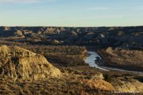 Badlands and river landscape