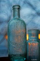 Old Bottles in Sunset Window #1