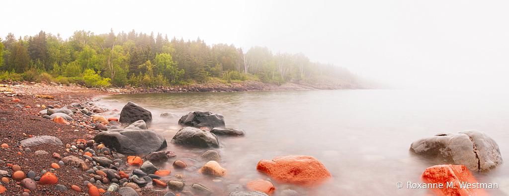 Foggy morning at Sugarloaf cove Lake Superior