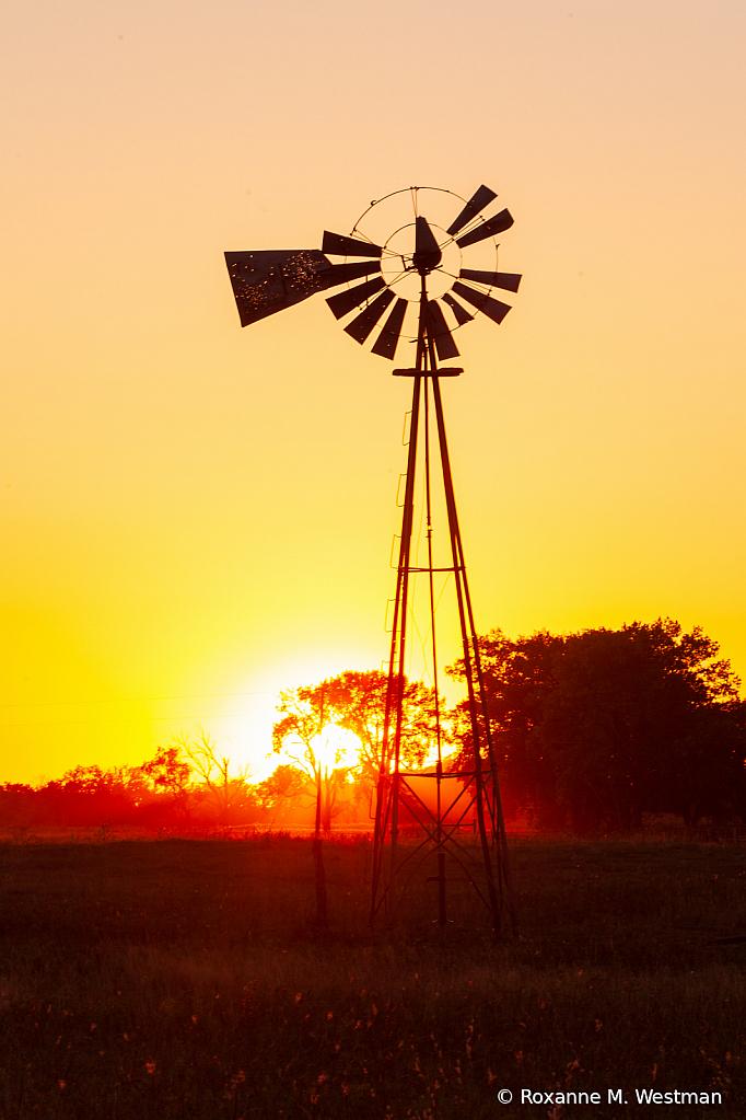 North Dakota windmill at sunset vertical
