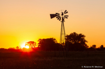 North Dakota windmill at sunset
