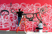 Mural artists at work