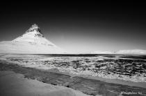 Kirkjufell mountain in Iceland BnW version