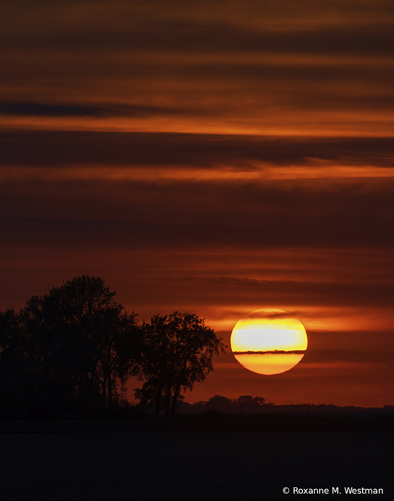 North Dakota hazy sunset