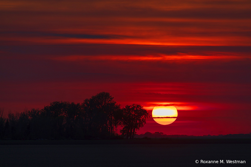 North Dakota hazy sunset landscape
