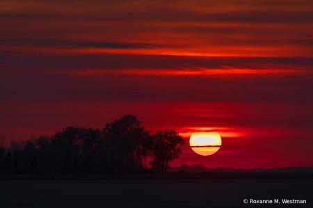 North Dakota hazy sunset landscape