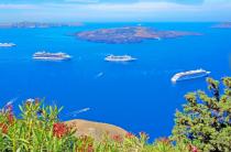View of the caldera area in Santorini island.