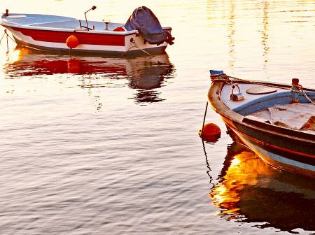 Boats and reflections.