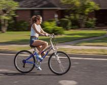 Blured background fairly sharp bike and rider