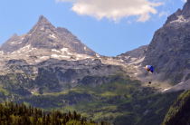 paraglider with mountain view