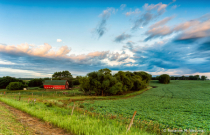 Red barn in the North Dakota landscape