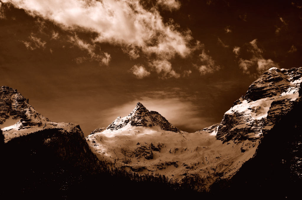 Mountain view in sepia color