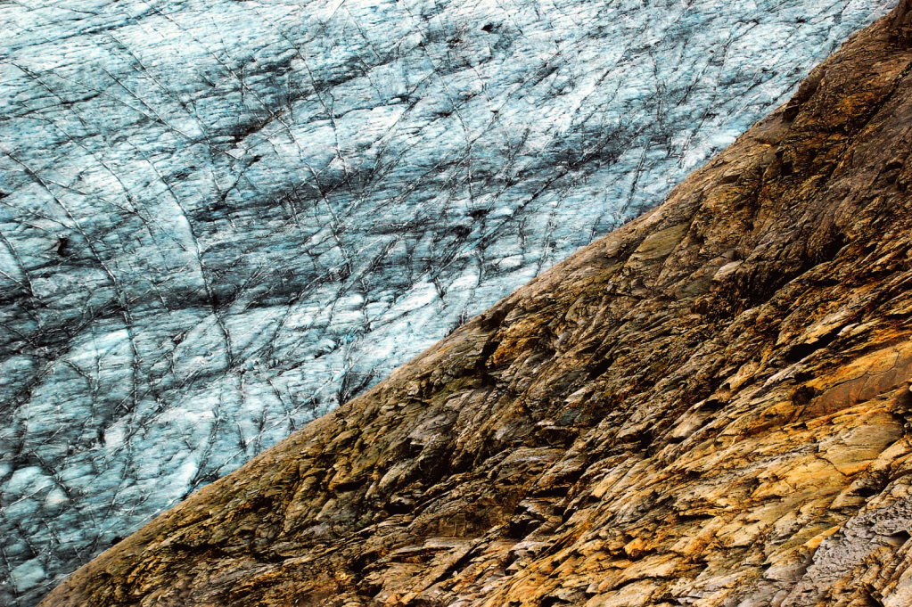 glacier ice and rocks