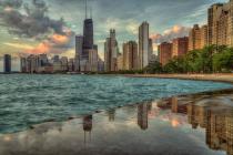 Chicago Sunrise Reflection
