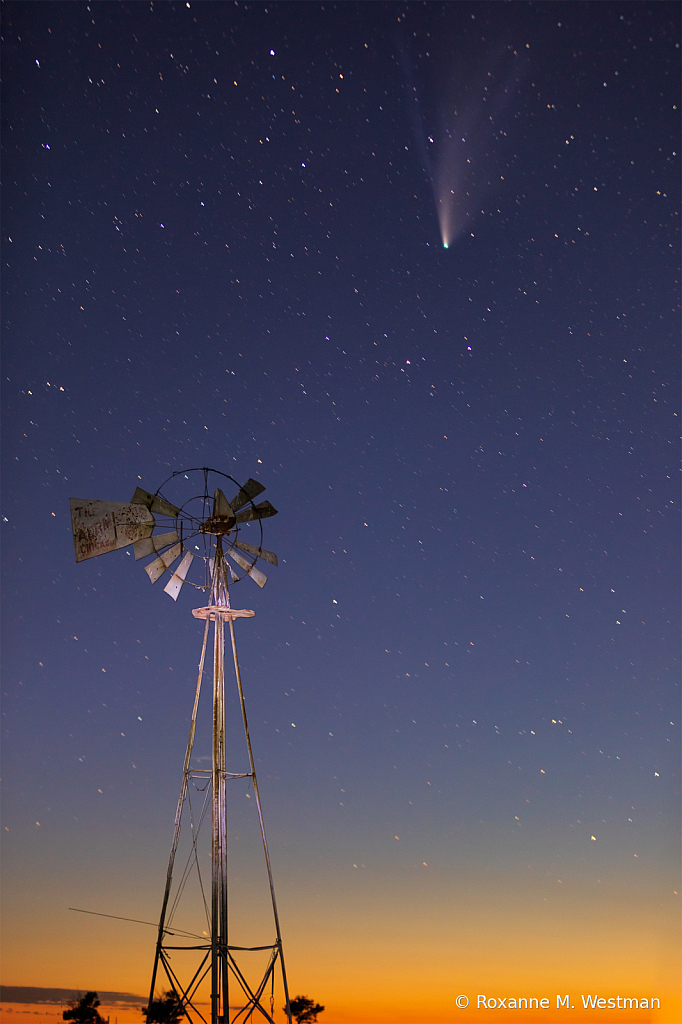 Comet Neowise and North Dakota windmill