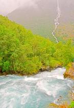 Stream and distant cascade brook.