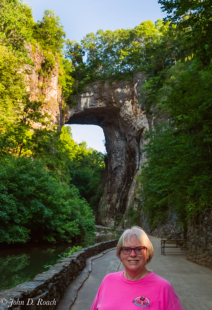 My wife in the morning at Natural Bridge, Virginia