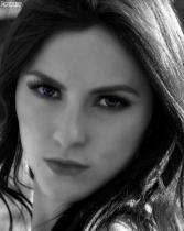 Close Portrait B&W With a Splash of Blue