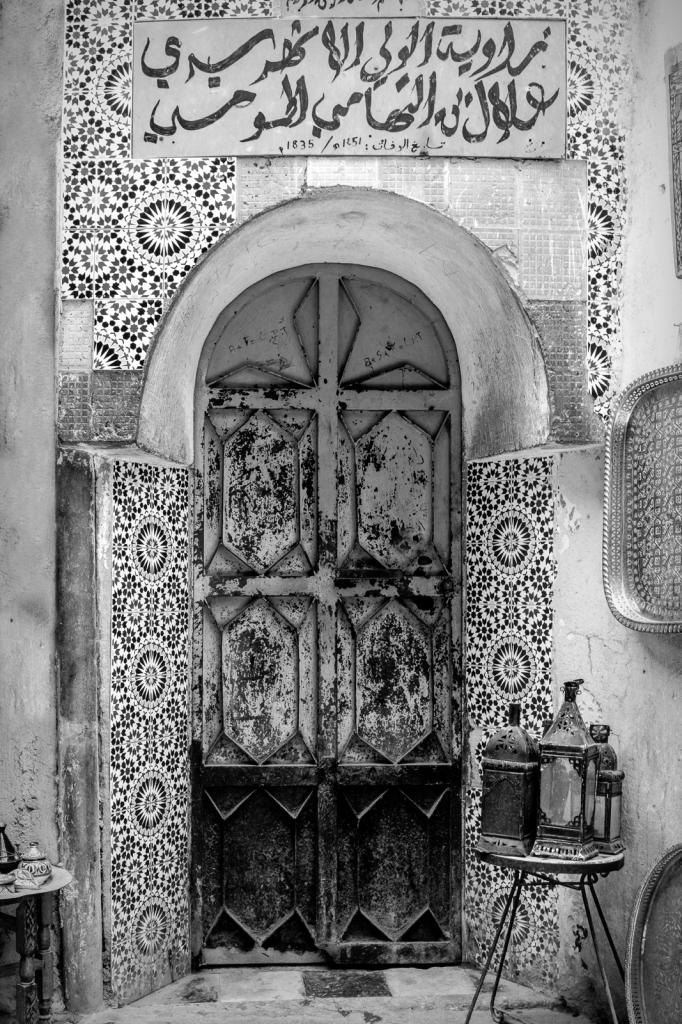 B/W Fes Morocco Door