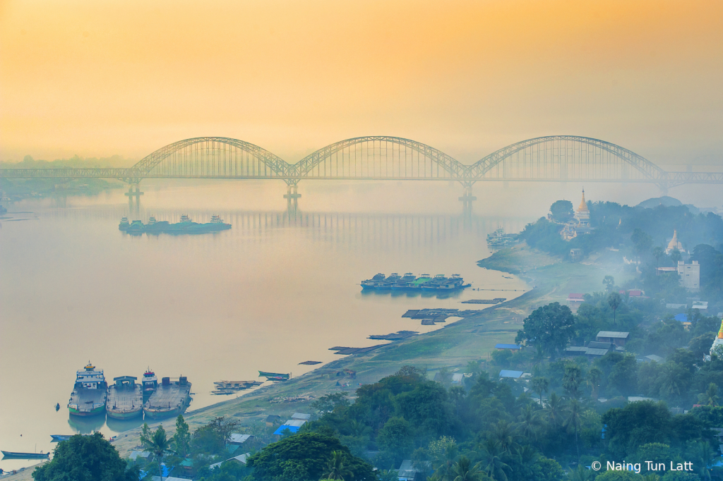 misty morning sagaing bridge