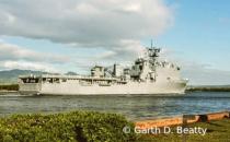 Navy Ship heading into Pearl Harbor