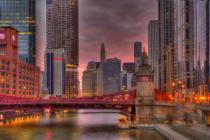 Chicago River Bridge Sunrise