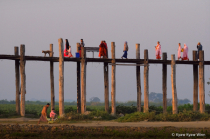 People and Wooden Bridge