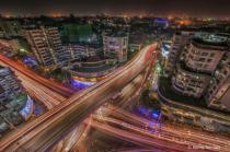 night life of overhead bridge