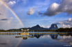 Rainbow and lake
