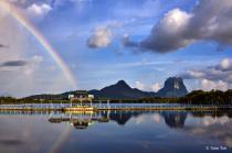 Rainbow and lake