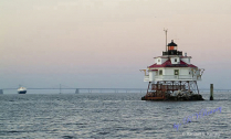 Thomas Pt Light House w/ Bay Bridge & Ship