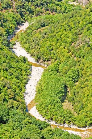 River flowing among forested slopes.