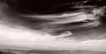 Navigating clouds and distant mountains.