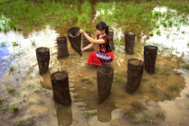A girl preparing to go fishing