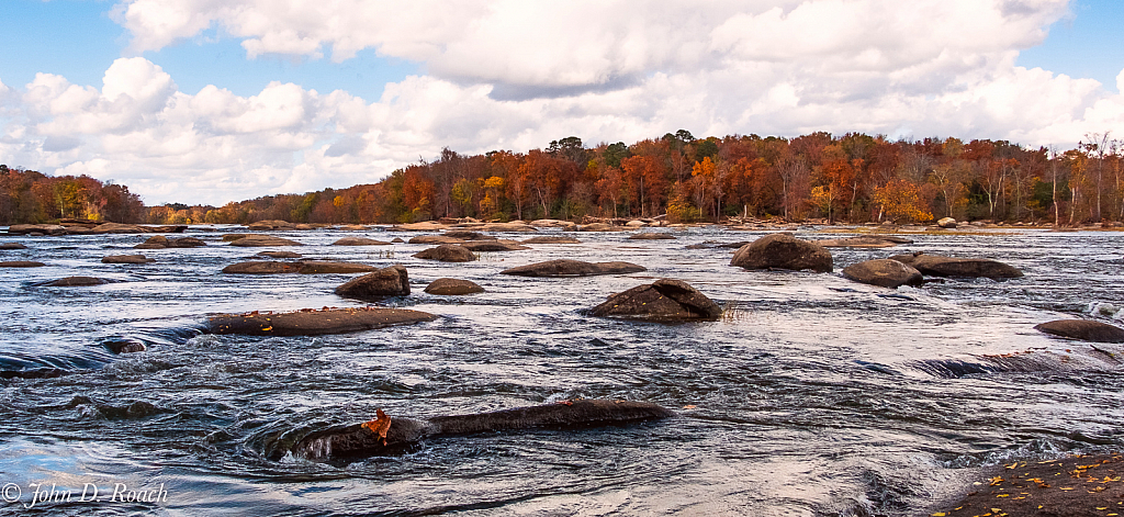 Low on the water of the James River in Autumn - ID: 15869774 © John D. Roach