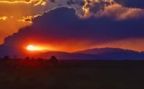 Colorado flag sunset