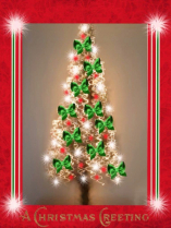 Christmas Tree green bows red bulb is G.G.
