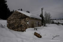 A Real Log Cabin in the Snow...