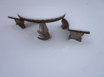 Cement bench - snow