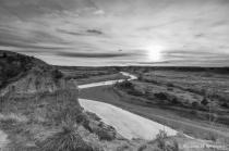 North Dakota badlands in black and white
