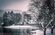 B&W Snowy Day at the Boathouse.